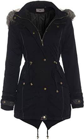 Black OVERSIZED HOOD Parka Womens Coat Sizes 8 - 24: Amazon.co.uk ...